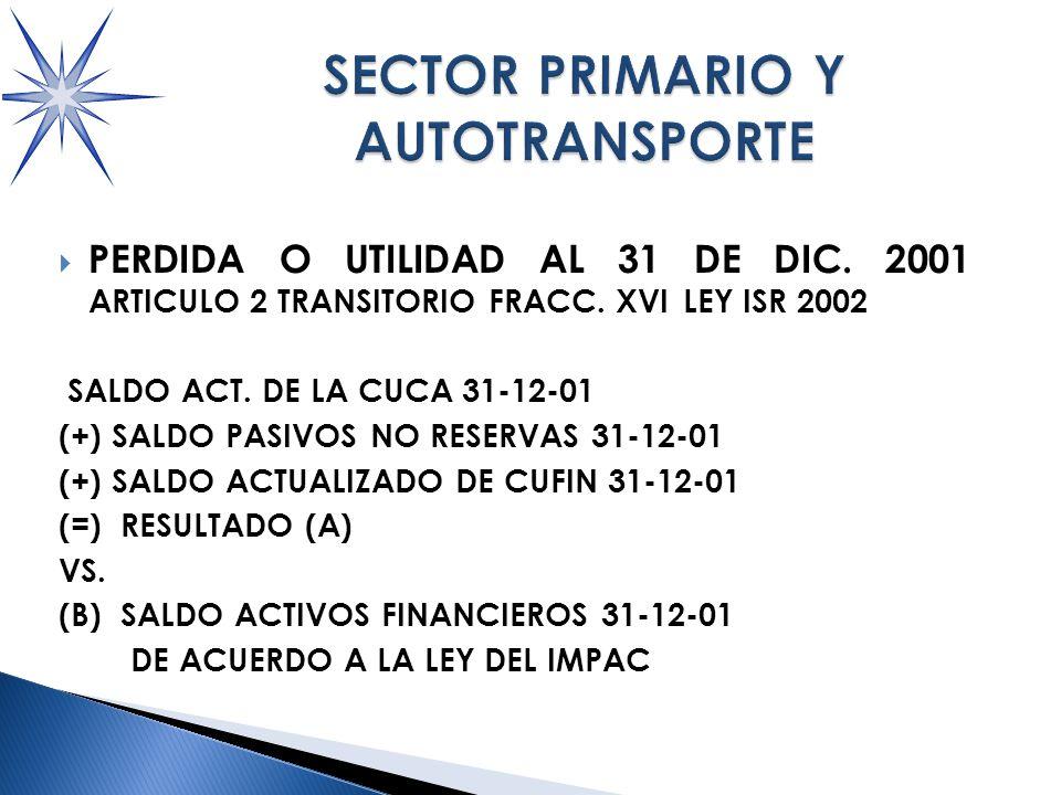 PERDIDA O UTILIDAD AL 31 DE DIC.2001 ARTICULO 2 TRANSITORIO FRACC.