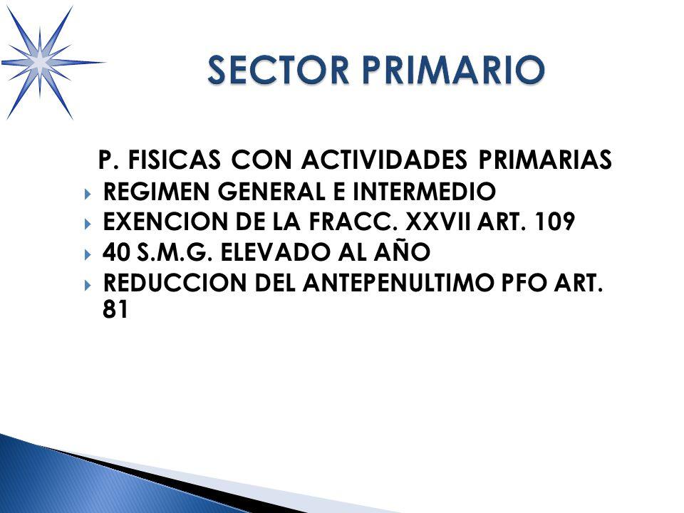 P.FISICAS CON ACTIVIDADES PRIMARIAS REGIMEN GENERAL E INTERMEDIO EXENCION DE LA FRACC.