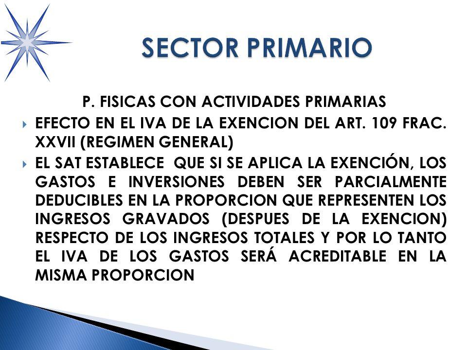 P.FISICAS CON ACTIVIDADES PRIMARIAS EFECTO EN EL IVA DE LA EXENCION DEL ART.