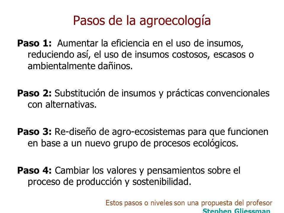 Pasos de la agroecología Paso 1: Aumentar la eficiencia en el uso de insumos, reduciendo así, el uso de insumos costosos, escasos o ambientalmente dañinos.