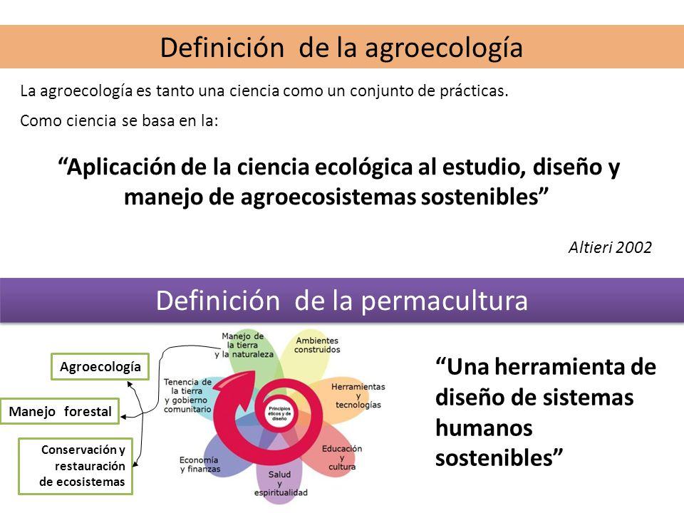 Definición de la agroecología La agroecología es tanto una ciencia como un conjunto de prácticas. Como ciencia se basa en la: Aplicación de la ciencia