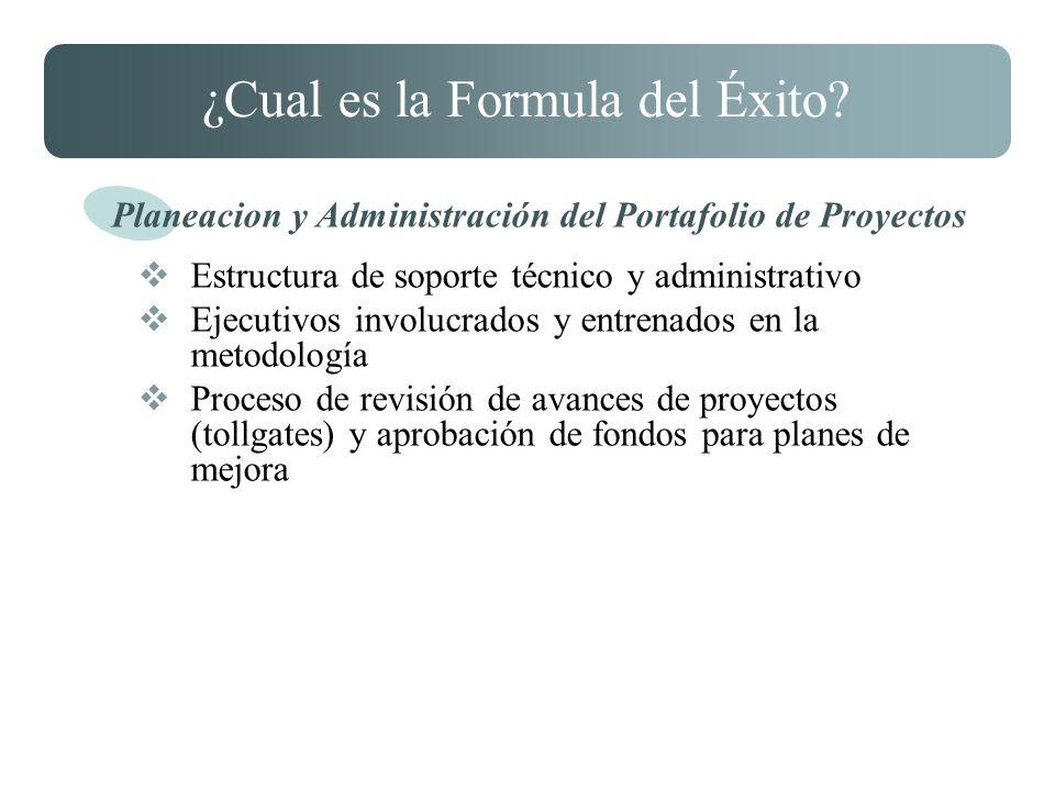 ¿Cual es la Formula del Éxito? Estructura de soporte técnico y administrativo Ejecutivos involucrados y entrenados en la metodología Proceso de revisi
