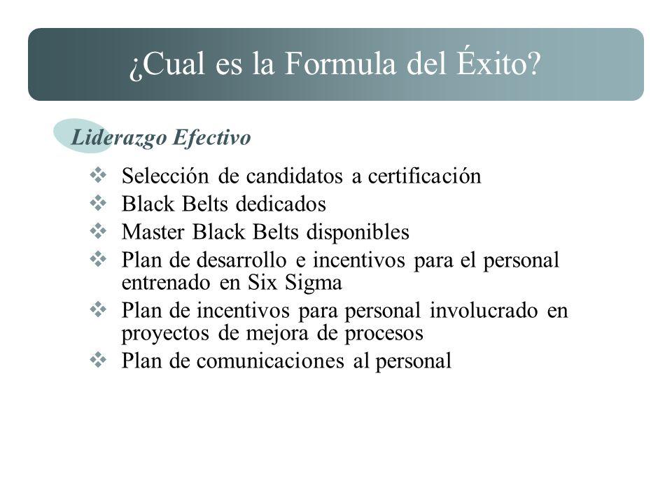 ¿Cual es la Formula del Éxito? Selección de candidatos a certificación Black Belts dedicados Master Black Belts disponibles Plan de desarrollo e incen