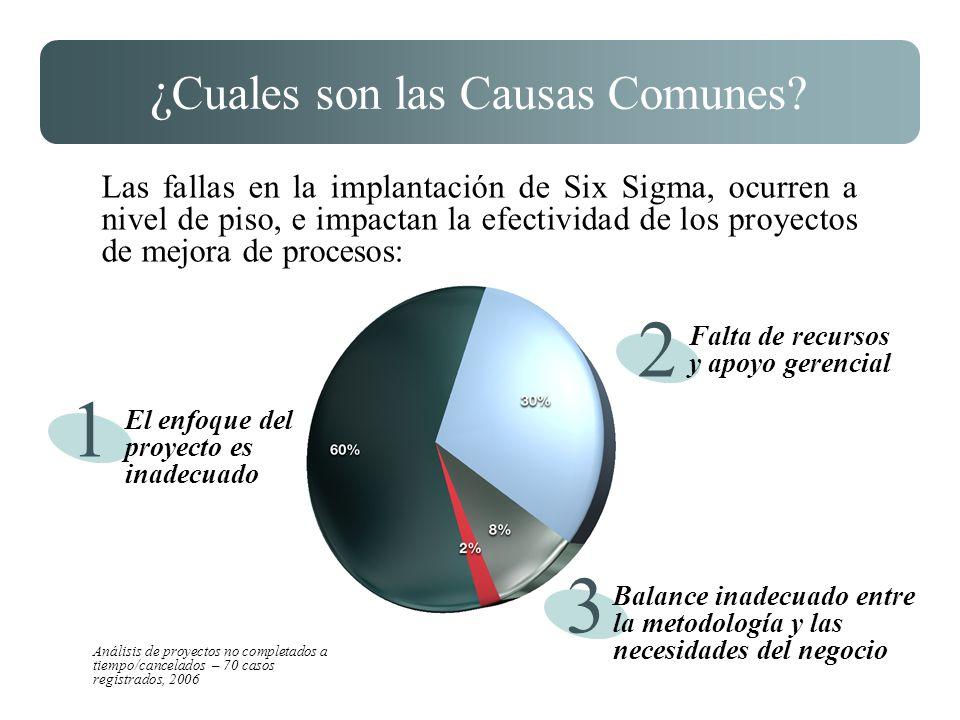 ¿ Cuales son las Causas Comunes? Las fallas en la implantación de Six Sigma, ocurren a nivel de piso, e impactan la efectividad de los proyectos de me