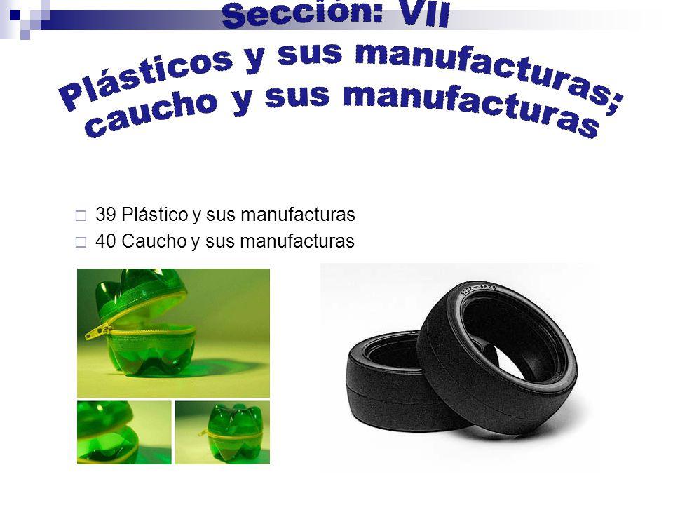 39 Plástico y sus manufacturas 40 Caucho y sus manufacturas