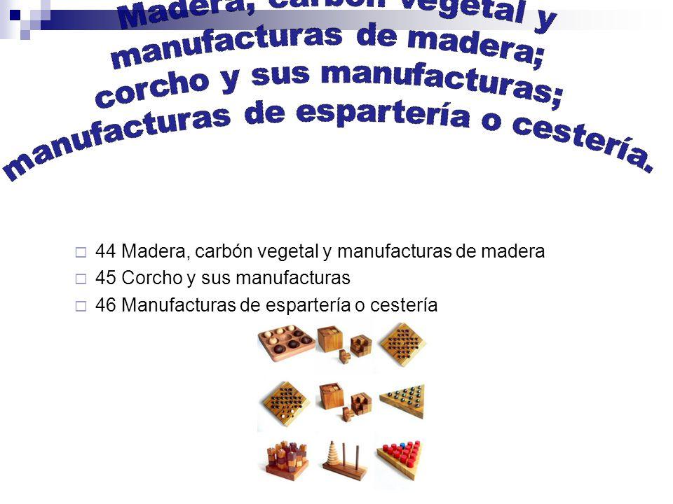 44 Madera, carbón vegetal y manufacturas de madera 45 Corcho y sus manufacturas 46 Manufacturas de espartería o cestería