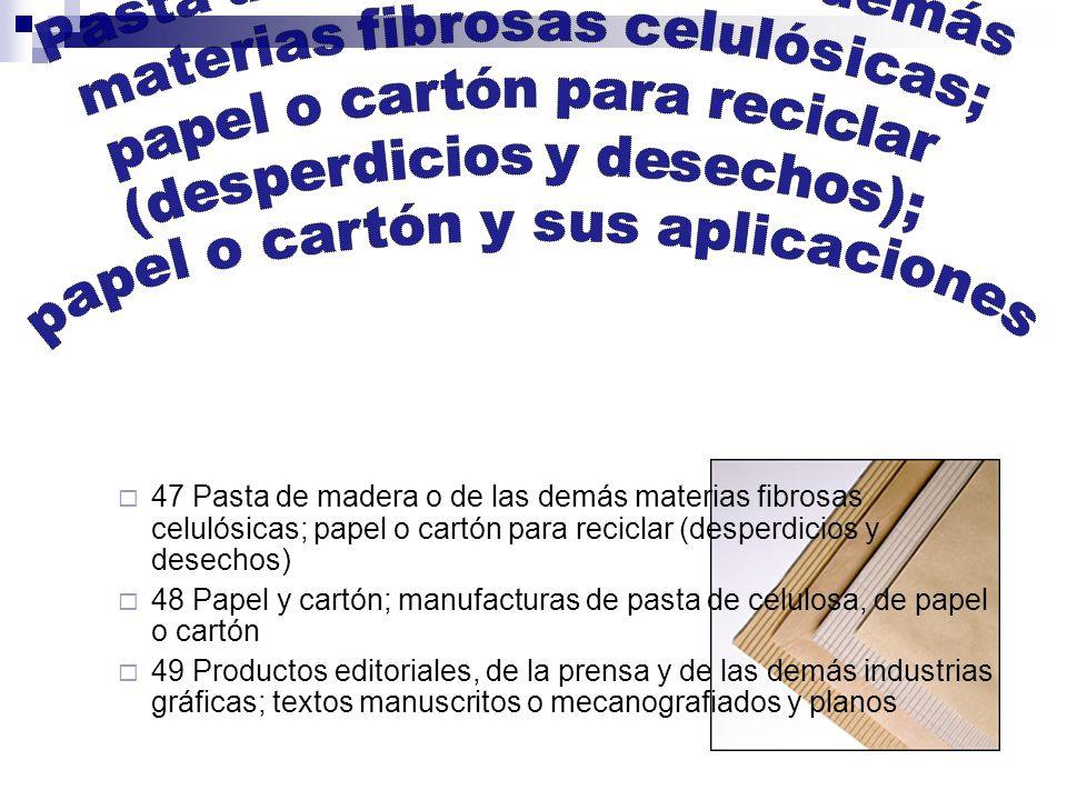 47 Pasta de madera o de las demás materias fibrosas celulósicas; papel o cartón para reciclar (desperdicios y desechos) 48 Papel y cartón; manufacturas de pasta de celulosa, de papel o cartón 49 Productos editoriales, de la prensa y de las demás industrias gráficas; textos manuscritos o mecanografiados y planos