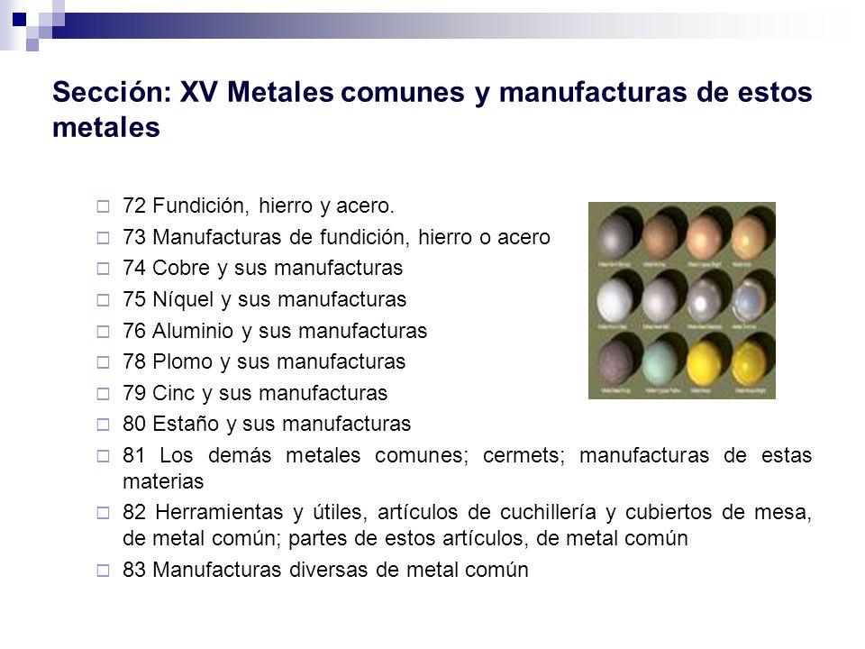 Sección: XV Metales comunes y manufacturas de estos metales 72 Fundición, hierro y acero.