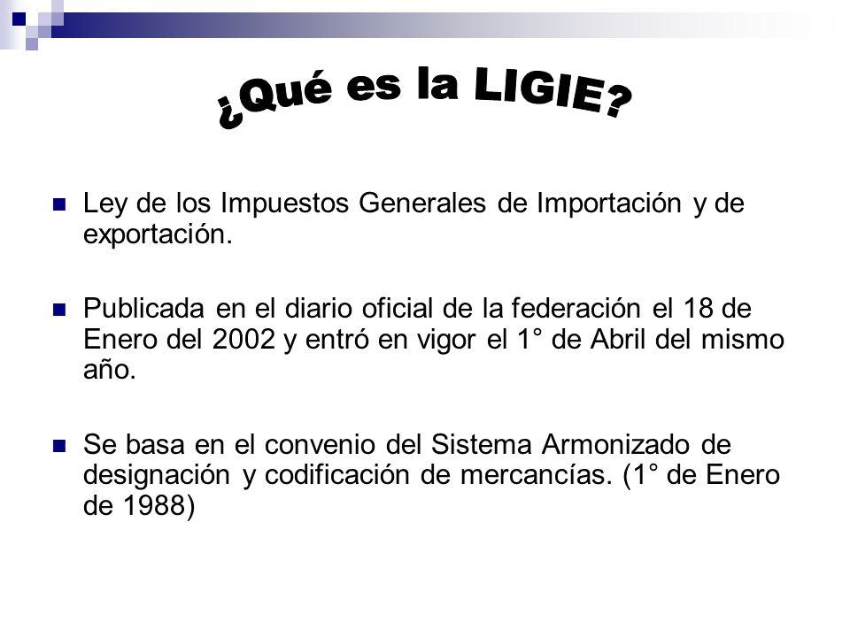 Ley de los Impuestos Generales de Importación y de exportación.