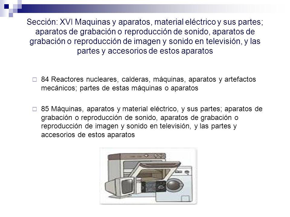 Sección: XVI Maquinas y aparatos, material eléctrico y sus partes; aparatos de grabación o reproducción de sonido, aparatos de grabación o reproducción de imagen y sonido en televisión, y las partes y accesorios de estos aparatos 84 Reactores nucleares, calderas, máquinas, aparatos y artefactos mecánicos; partes de estas máquinas o aparatos 85 Máquinas, aparatos y material eléctrico, y sus partes; aparatos de grabación o reproducción de sonido, aparatos de grabación o reproducción de imagen y sonido en televisión, y las partes y accesorios de estos aparatos