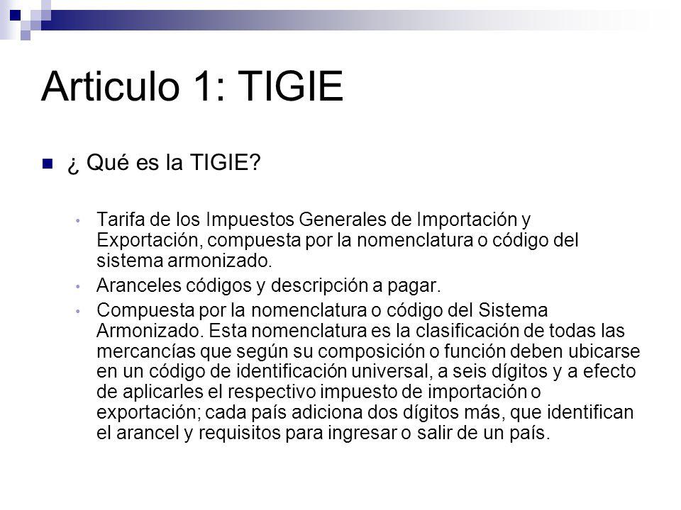 Articulo 1: TIGIE ¿ Qué es la TIGIE.