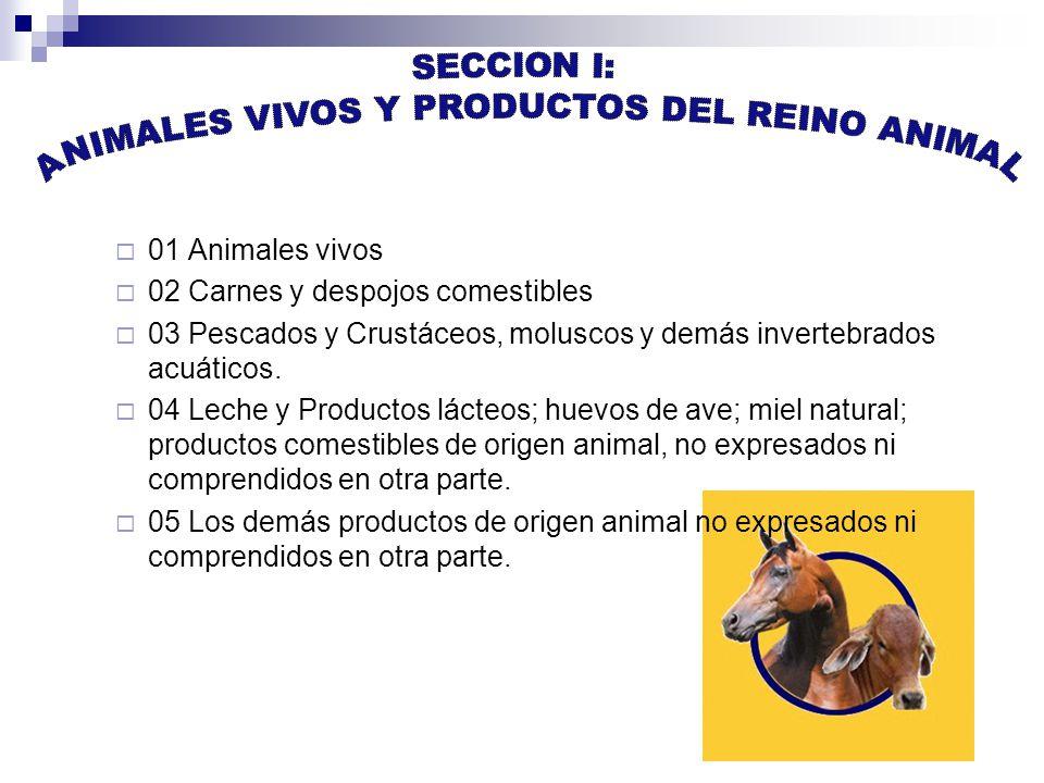 01 Animales vivos 02 Carnes y despojos comestibles 03 Pescados y Crustáceos, moluscos y demás invertebrados acuáticos.
