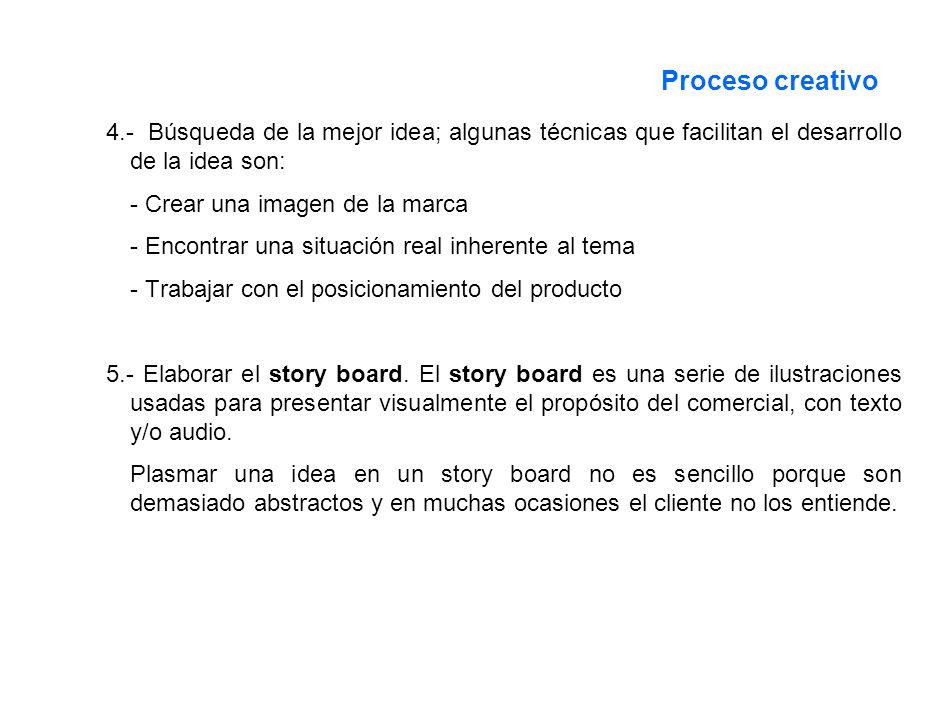 Proceso creativo 4.- Búsqueda de la mejor idea; algunas técnicas que facilitan el desarrollo de la idea son: - Crear una imagen de la marca - Encontra