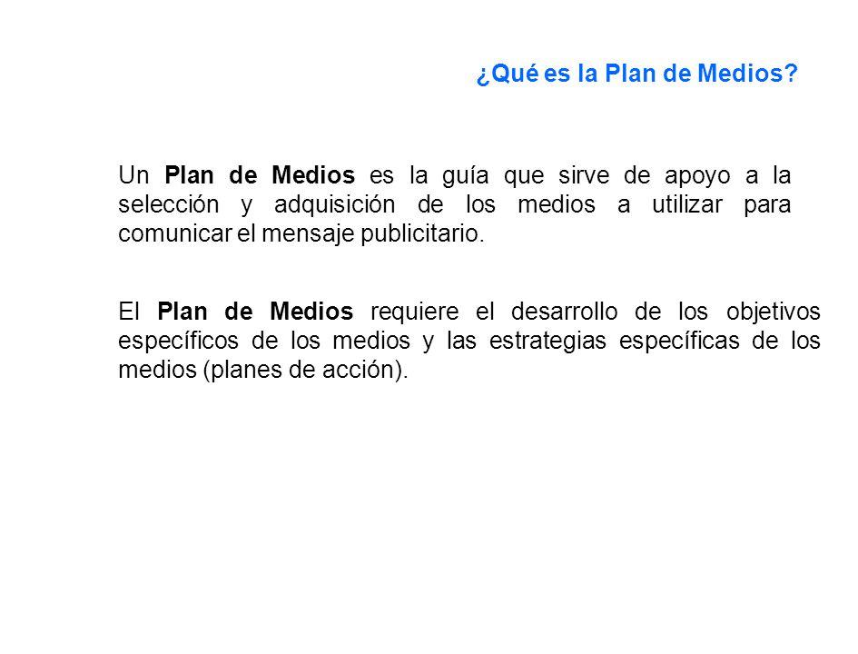 ¿Qué es la Plan de Medios? Un Plan de Medios es la guía que sirve de apoyo a la selección y adquisición de los medios a utilizar para comunicar el men