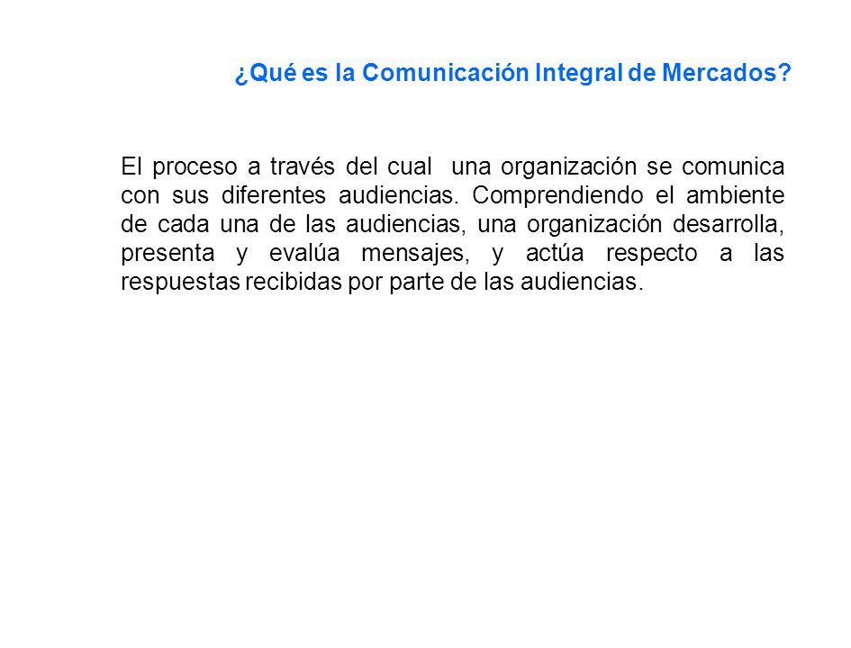 ¿Qué es la Comunicación Integral de Mercados? El proceso a través del cual una organización se comunica con sus diferentes audiencias. Comprendiendo e