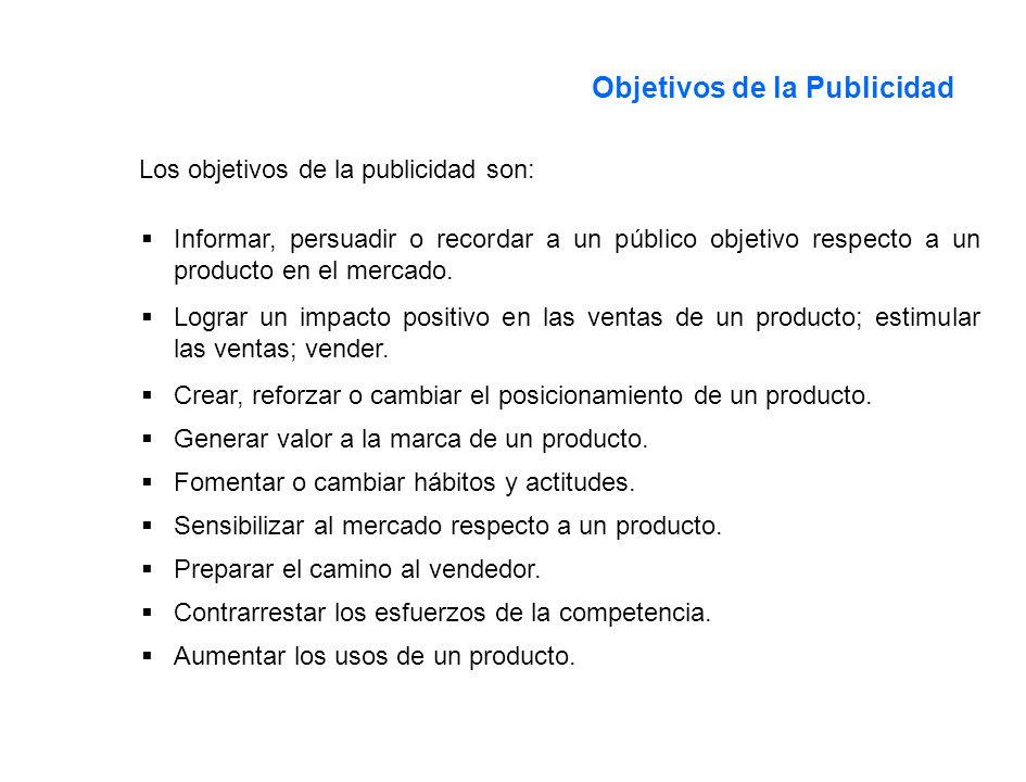 Objetivos de la Publicidad Los objetivos de la publicidad son: Informar, persuadir o recordar a un público objetivo respecto a un producto en el merca