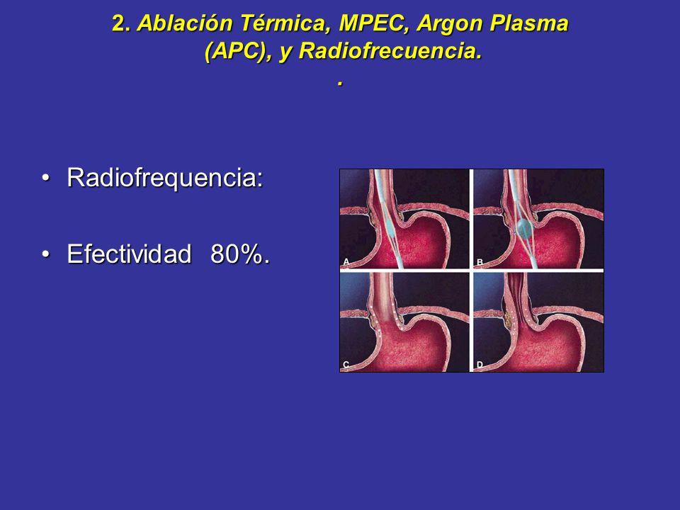 2. Ablación Térmica, MPEC, Argon Plasma (APC), y Radiofrecuencia. Contacto:multipolarContacto:multipolar No-contacto: APCNo-contacto: APC APC 50 y 90