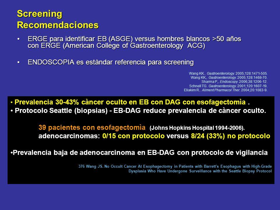 Screening Recomendaciones ERGE para identificar EB (ASGE) versus hombres blancos >50 años con ERGE (American College of Gastroenterology ACG)ERGE para identificar EB (ASGE) versus hombres blancos >50 años con ERGE (American College of Gastroenterology ACG) ENDOSCOPIA es estàndar referencia para screeningENDOSCOPIA es estàndar referencia para screening Wang KK..