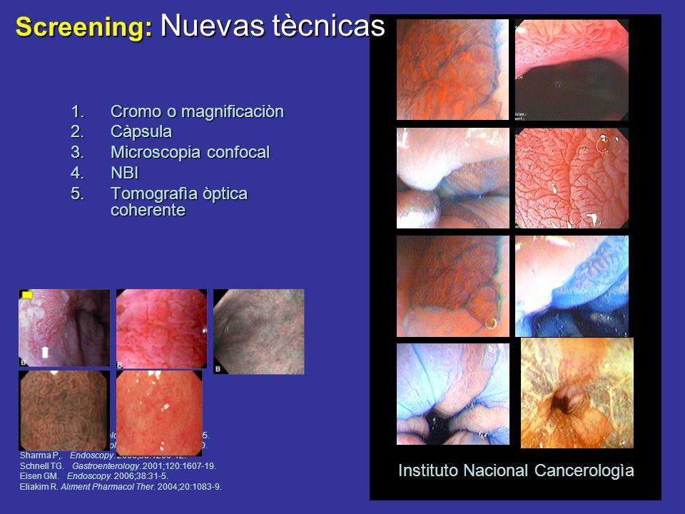 Screening: Nuevas tècnicas 1.Cromo o magnificaciòn 2.Càpsula 3.Microscopia confocal 4.NBI 5.Tomografìa òptica coherente Wang KK.