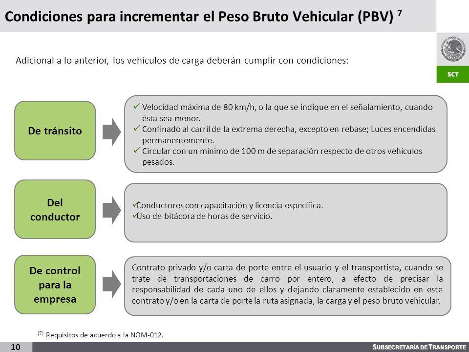 S UBSECRETARÍA DE T RANSPORTE Condiciones para incrementar el Peso Bruto Vehicular (PBV) 7 10 Adicional a lo anterior, los vehículos de carga deberán