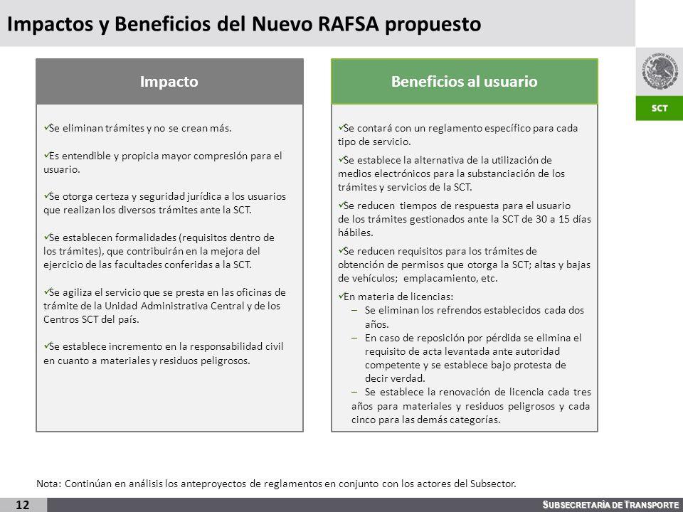 S UBSECRETARÍA DE T RANSPORTE Impactos y Beneficios del Nuevo RAFSA propuesto 12 Se eliminan trámites y no se crean más. Es entendible y propicia mayo