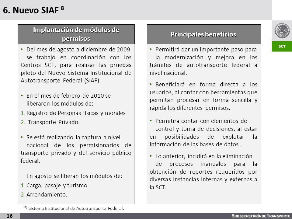 S UBSECRETARÍA DE T RANSPORTE 6. Nuevo SIAF 8 Del mes de agosto a diciembre de 2009 se trabajó en coordinación con los Centros SCT, para realizar las