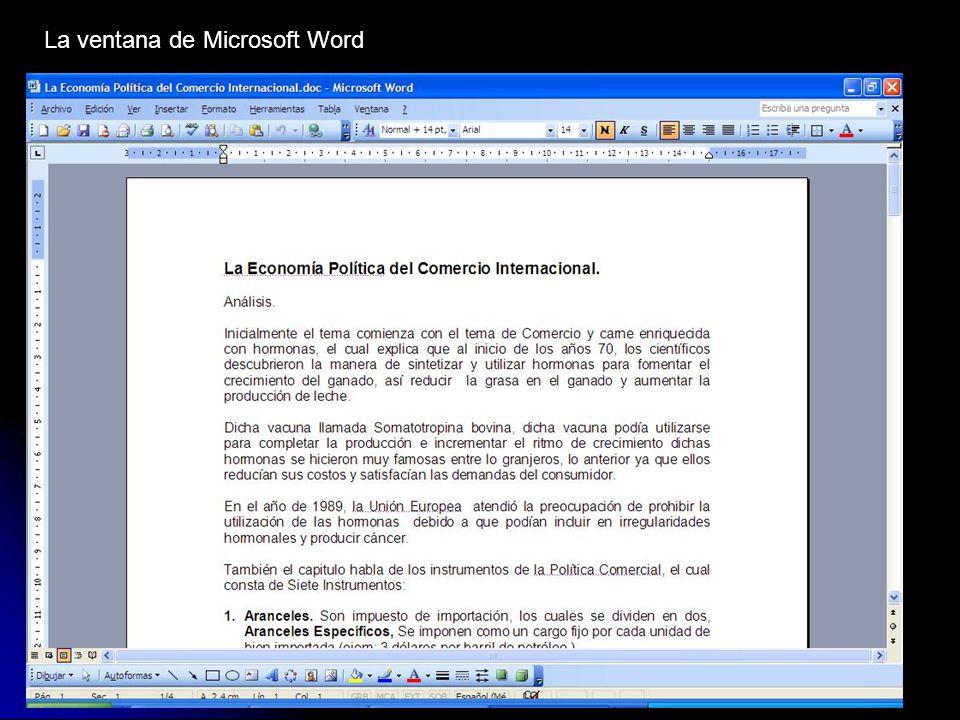 La ventana de Microsoft Word