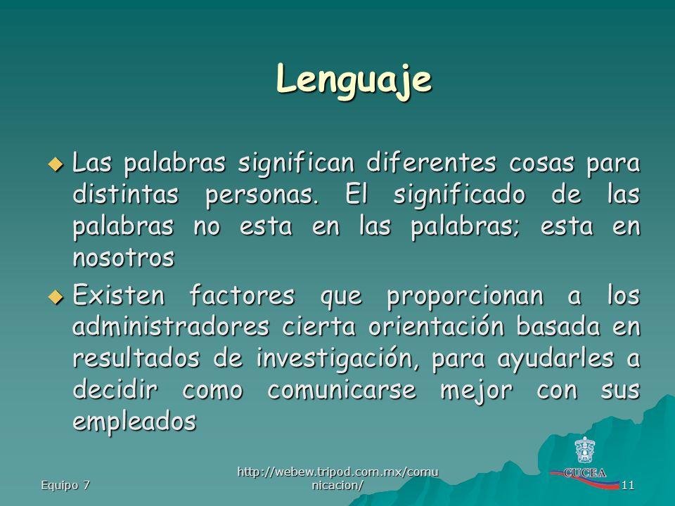 Equipo 7 http://webew.tripod.com.mx/comu nicacion/ 11 Las palabras significan diferentes cosas para distintas personas. El significado de las palabras