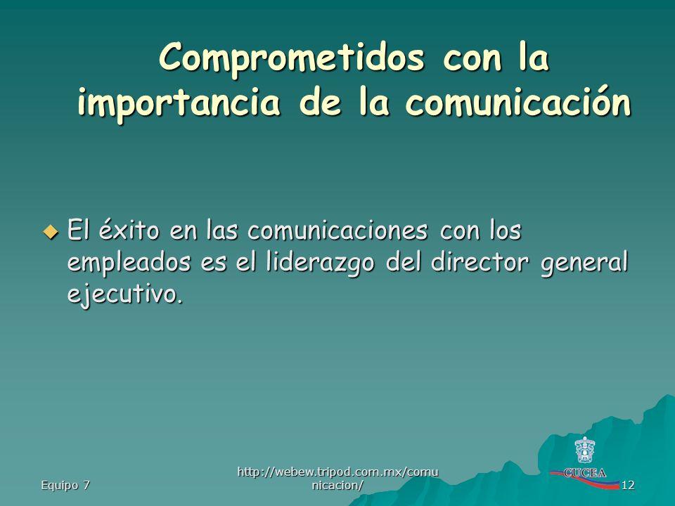 Equipo 7 http://webew.tripod.com.mx/comu nicacion/ 12 El éxito en las comunicaciones con los empleados es el liderazgo del director general ejecutivo.