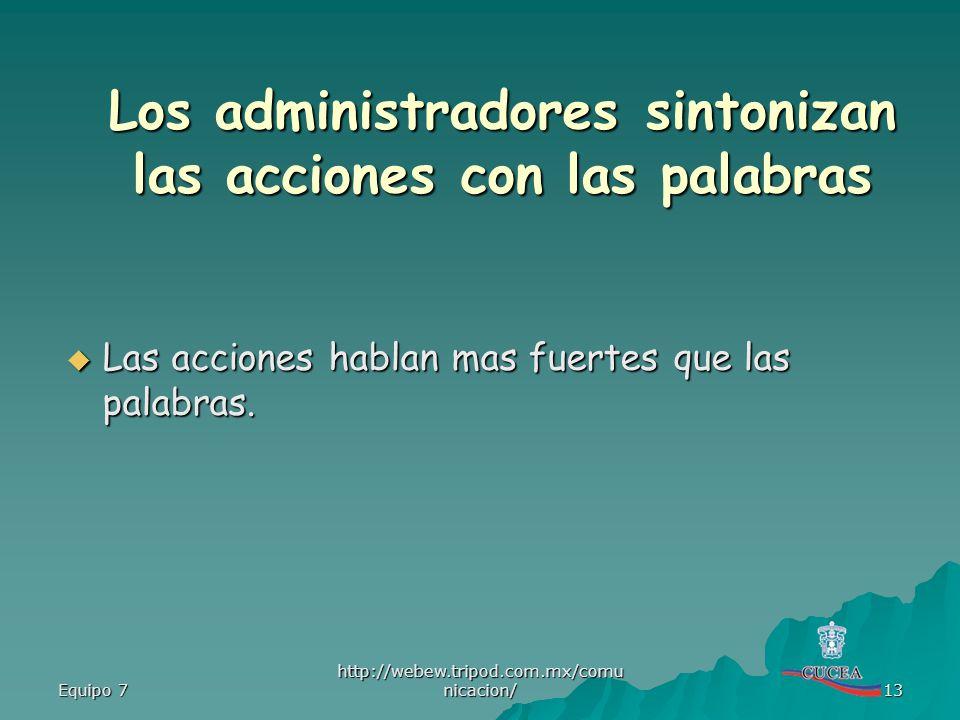 Equipo 7 http://webew.tripod.com.mx/comu nicacion/ 13 Las acciones hablan mas fuertes que las palabras. Las acciones hablan mas fuertes que las palabr