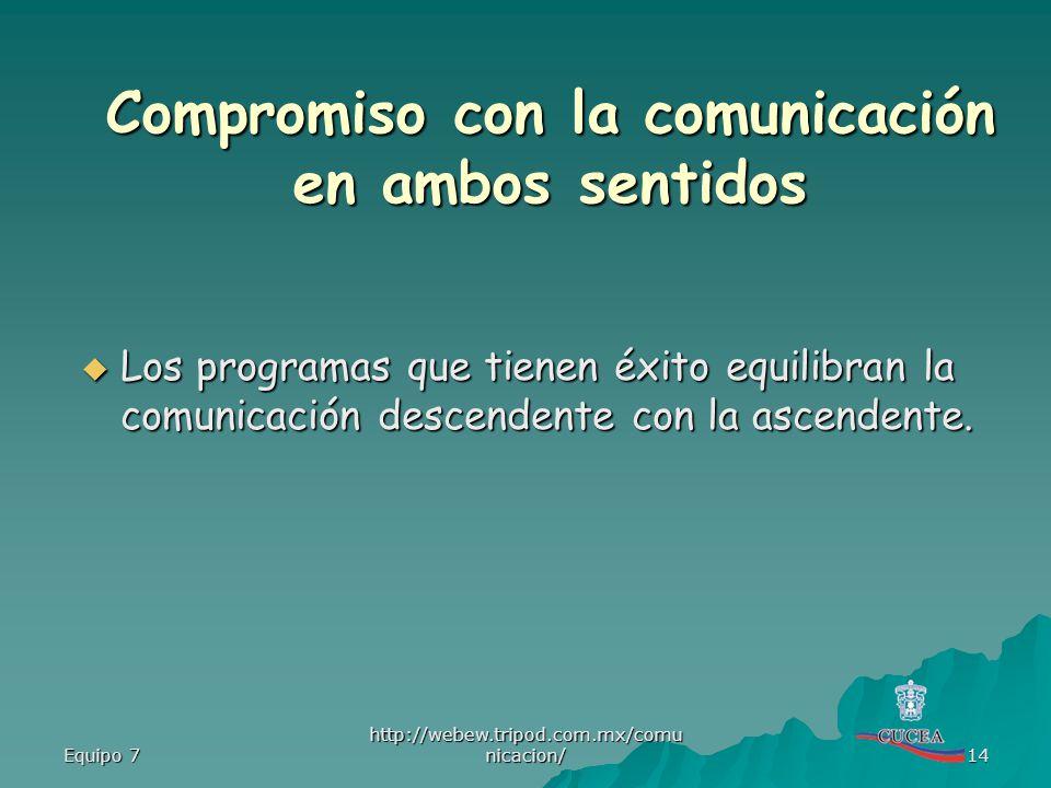 Equipo 7 http://webew.tripod.com.mx/comu nicacion/ 14 Los programas que tienen éxito equilibran la comunicación descendente con la ascendente. Los pro