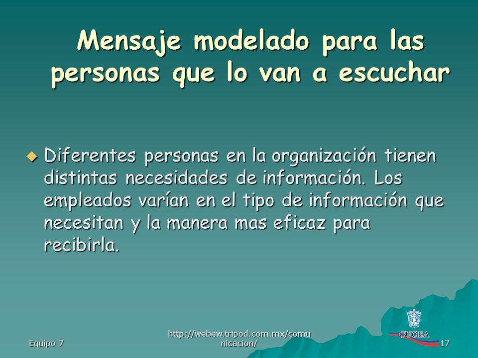 Equipo 7 http://webew.tripod.com.mx/comu nicacion/ 17 Diferentes personas en la organización tienen distintas necesidades de información. Los empleado