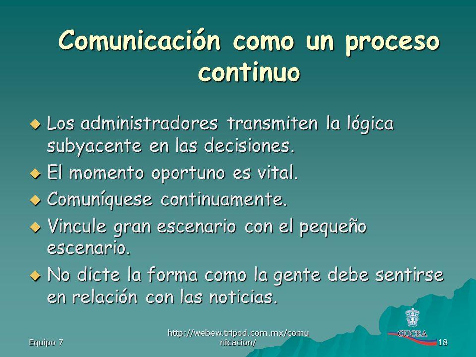 Equipo 7 http://webew.tripod.com.mx/comu nicacion/ 18 Los administradores transmiten la lógica subyacente en las decisiones. Los administradores trans