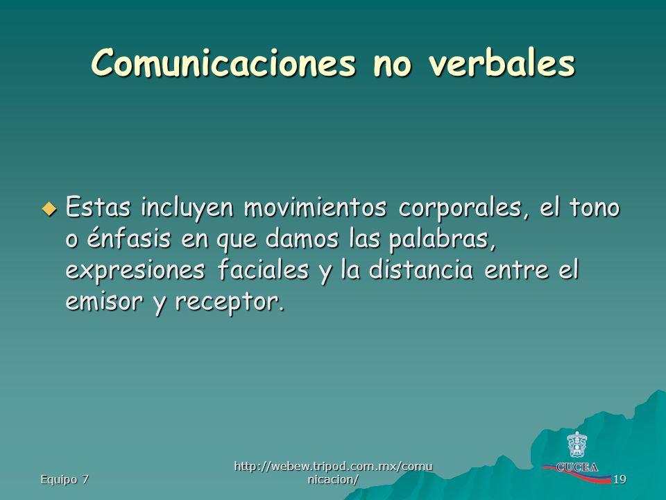 Equipo 7 http://webew.tripod.com.mx/comu nicacion/ 19 Comunicaciones no verbales Estas incluyen movimientos corporales, el tono o énfasis en que damos