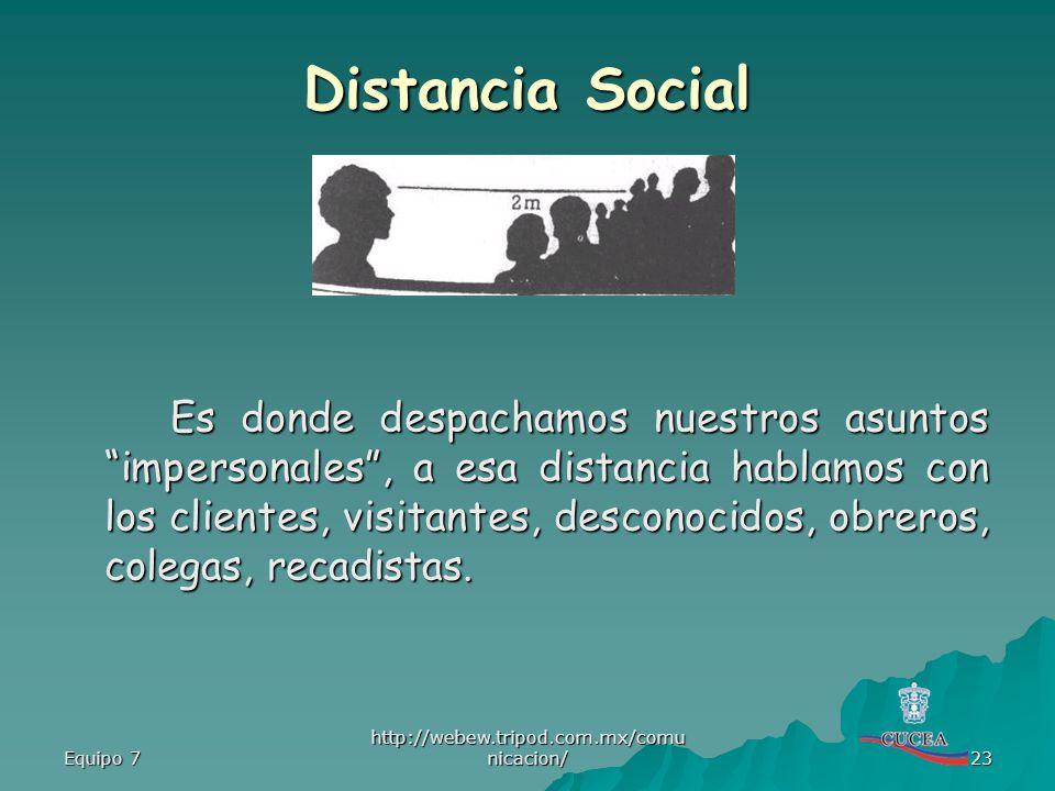 Equipo 7 http://webew.tripod.com.mx/comu nicacion/ 23 Distancia Social Es donde despachamos nuestros asuntos impersonales, a esa distancia hablamos co