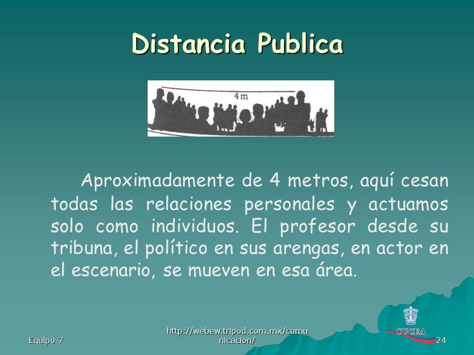Equipo 7 http://webew.tripod.com.mx/comu nicacion/ 24 Distancia Publica Aproximadamente de 4 metros, aquí cesan todas las relaciones personales y actu