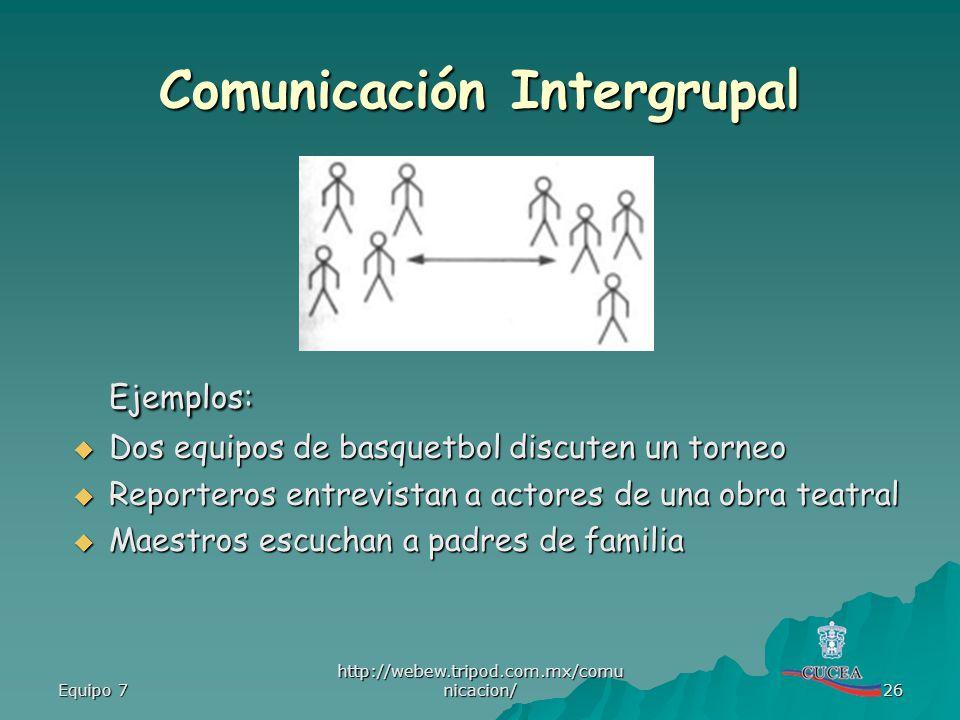 Equipo 7 http://webew.tripod.com.mx/comu nicacion/ 26 Comunicación Intergrupal Ejemplos: Dos equipos de basquetbol discuten un torneo Dos equipos de b