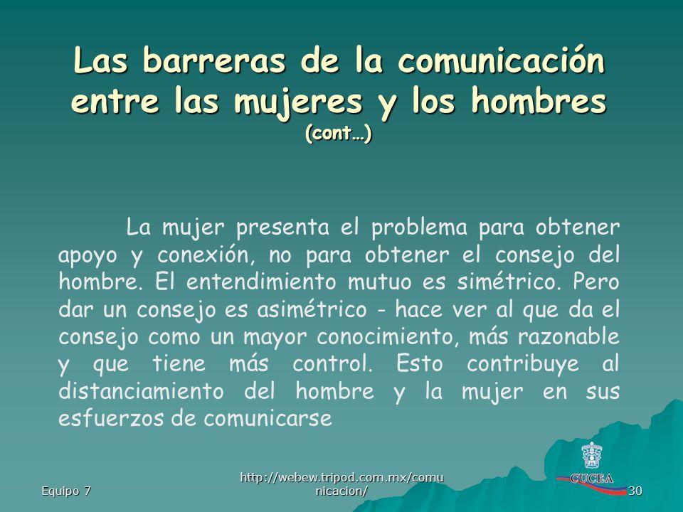 Equipo 7 http://webew.tripod.com.mx/comu nicacion/ 30 La mujer presenta el problema para obtener apoyo y conexión, no para obtener el consejo del homb