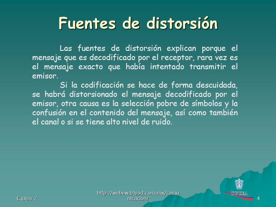 Equipo 7 http://webew.tripod.com.mx/comu nicacion/ 4 Las fuentes de distorsión explican porque el mensaje que es decodificado por el receptor, rara ve
