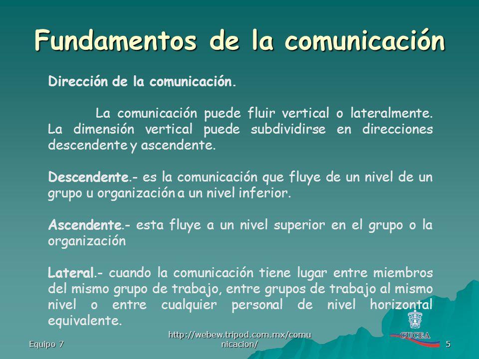 Equipo 7 http://webew.tripod.com.mx/comu nicacion/ 5 Dirección de la comunicación. La comunicación puede fluir vertical o lateralmente. La dimensión v