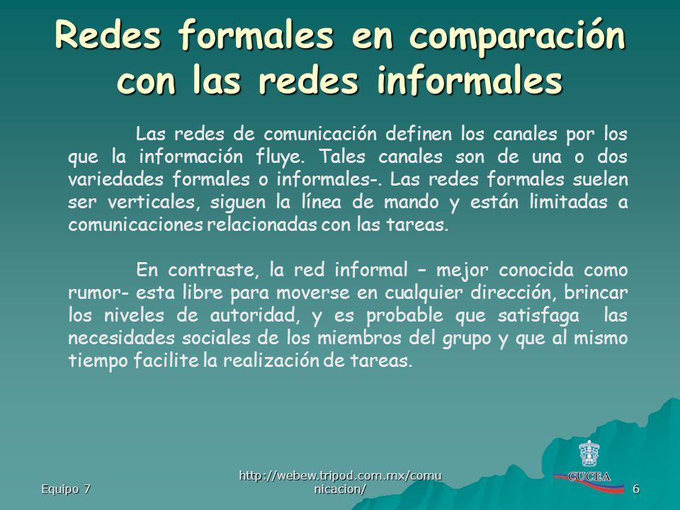 Equipo 7 http://webew.tripod.com.mx/comu nicacion/ 6 Las redes de comunicación definen los canales por los que la información fluye. Tales canales son