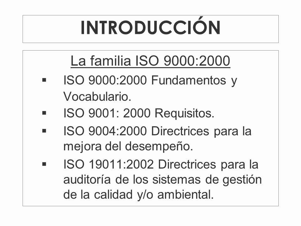 INTRODUCCIÓN La familia ISO 9000:2000 ISO 9000:2000 Fundamentos y Vocabulario.