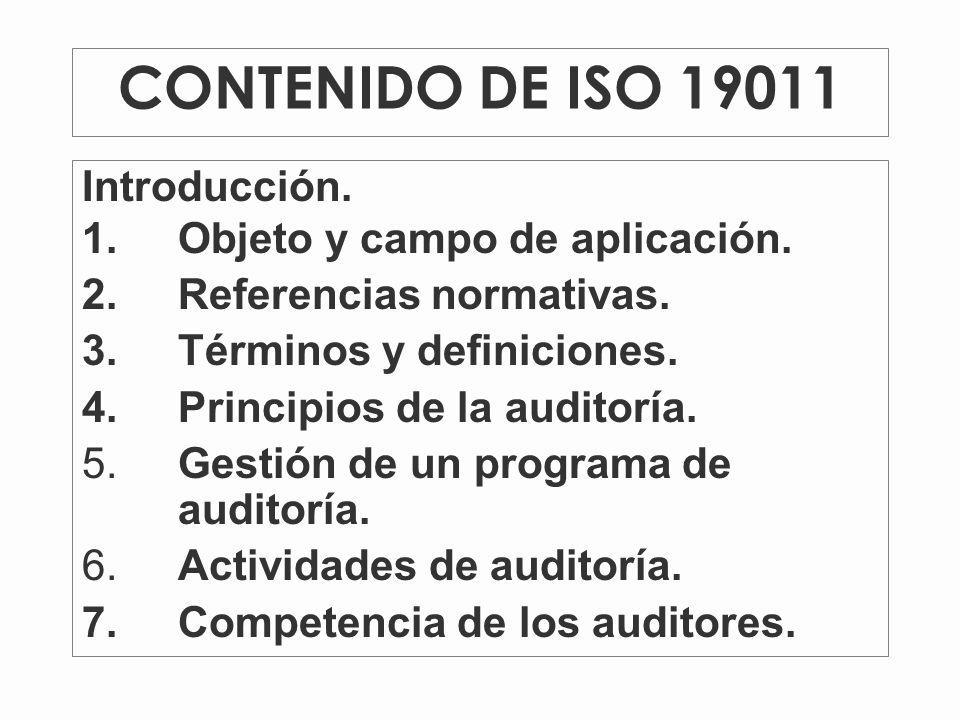 CONTENIDO DE ISO 19011 Introducción.1.Objeto y campo de aplicación.