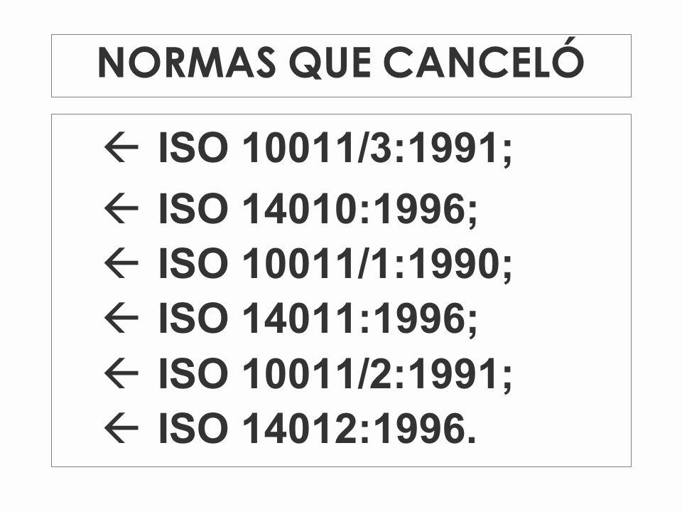 NORMAS QUE CANCELÓ ßISO 10011/3:1991; ßISO 14010:1996; ßISO 10011/1:1990; ßISO 14011:1996; ßISO 10011/2:1991; ßISO 14012:1996.