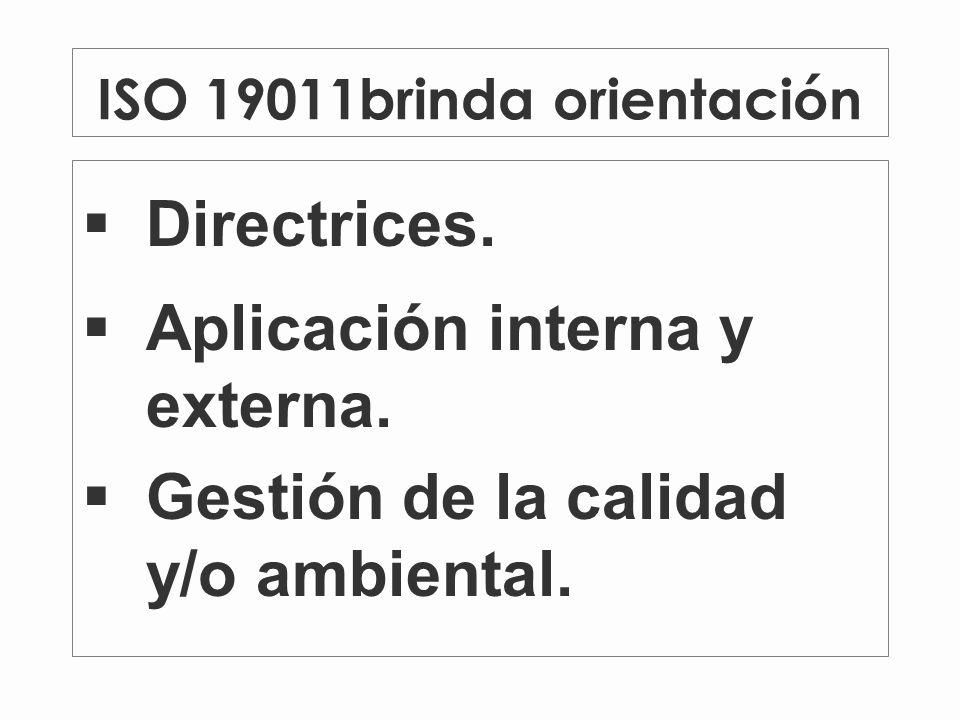 ISO 19011brinda orientación Directrices.Aplicación interna y externa.