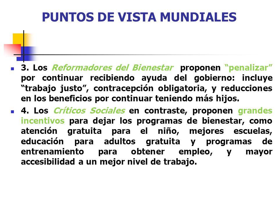 PUNTOS DE VISTA MUNDIALES 3. Los Reformadores del Bienestar proponen penalizar por continuar recibiendo ayuda del gobierno: incluye trabajo justo, con