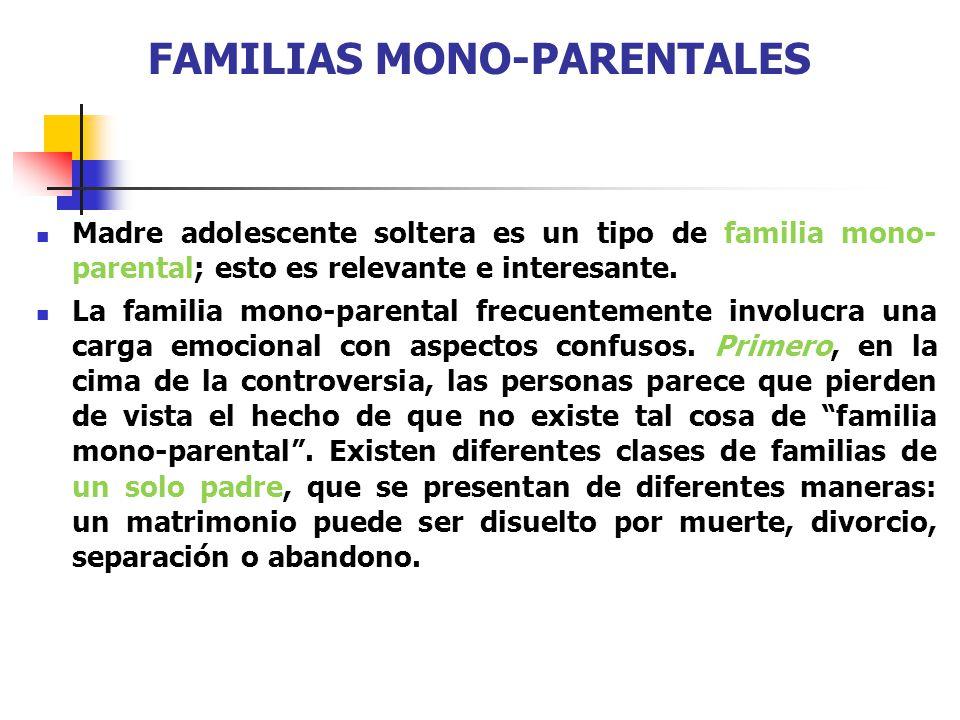 FAMILIAS MONO-PARENTALES Madre adolescente soltera es un tipo de familia mono- parental; esto es relevante e interesante. La familia mono-parental fre