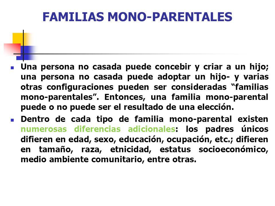 FAMILIAS MONO-PARENTALES Una persona no casada puede concebir y criar a un hijo; una persona no casada puede adoptar un hijo- y varias otras configura