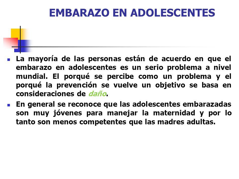 EMBARAZO EN ADOLESCENTES La mayoría de las personas están de acuerdo en que el embarazo en adolescentes es un serio problema a nivel mundial. El porqu