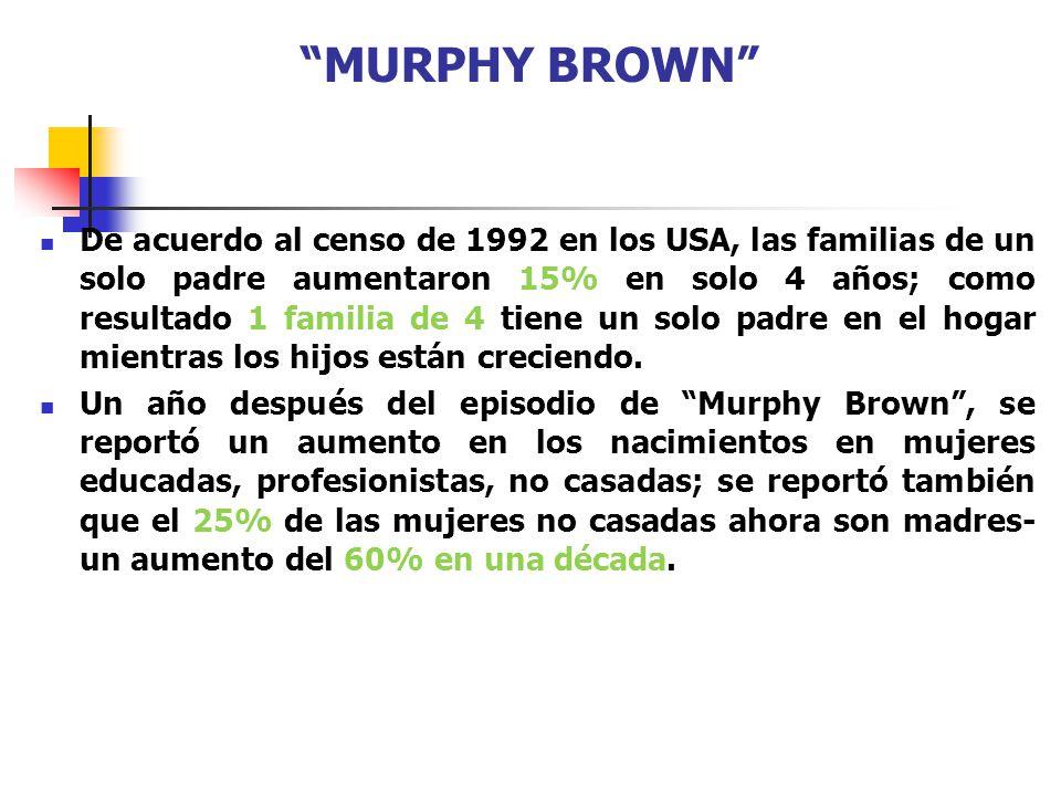 MURPHY BROWN De acuerdo al censo de 1992 en los USA, las familias de un solo padre aumentaron 15% en solo 4 años; como resultado 1 familia de 4 tiene